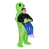 Scary Halloween Costumes Adult Green Alien Inflatable Blow Up Suits Party Dress