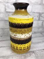 Vintage Rosenthal-Netter Mid Century Modern Pottery Vase Bitossi Yellow Earthen