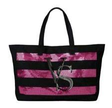 Victoria's Secret Black Pink Sequin Striped Tote Gym Duffle Weekend Bag