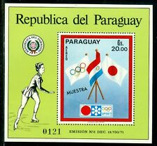 Paraguay Olympische Spiele Olympic Games 1972 MUESTRA block with flags