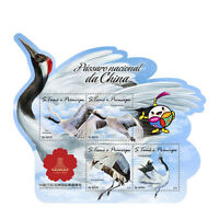 Sao Tome & Principe 2016 MNH National Bird of China Cranes 4v M/S Birds Stamps