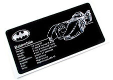 CUSTOM PLAQUE STICKER for BATMOBILE MODELS, DISPLAYS, TOYS,  Lego 7781 7784, ETC