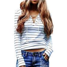 New Women Stripe Long Sleeve Shirt Lace Up V Neck T-Shirt Loose Tops Blouse