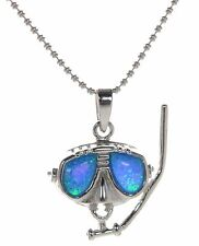 Solid 925 Sterling Silver Blue Opal Snorkel Masked Face Pendant Necklace '