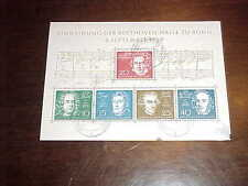 1959 Ludwig van Beethoven Block of 4 stamp Bonn Postmarked