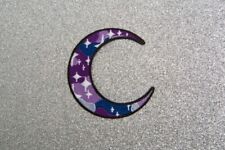 Purple Galaxy Moon with Stars easy iron on patch Sew crescent Goth Mystic spell