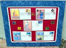 OLYMPICS USA First Day 1992 Stamp Pin swimming gymnastics boxing baseball set