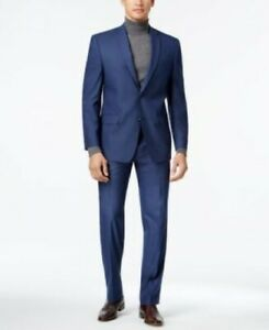 $395 Andrew Marc Stretch Blue Neat Suit Mens 44L 44 with Pants 39 x 33 NEW