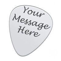 Personalised Engraved Custom Guitar Pick Plectrum Silver Stainless Steele FREE