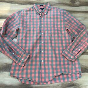 J Crew Mens Slim Washed Pink Gray Plaid Button Down Shirt Size XL