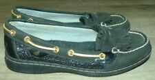 Womens Size 6 Sperry Top-Sider Kiltie Avery Black Leather Sequin Mocs Boat Shoes