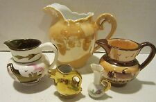 Vintage lot of 5 small china pitchers - gold trim -Germany-England-U.S.A made EC