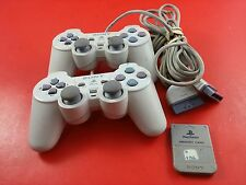 Bundle of 2 Playstation 1 PS1 White Slim Analog Controllers w/ Memory Card