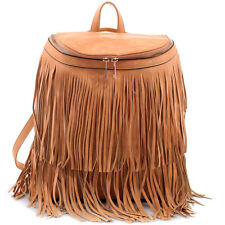New Dasein Women Leather Backpack School Bag Hobo Purse Handbag w/ Fringe Tassel
