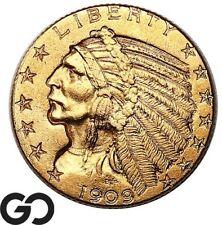 1909 Half Eagle, $5 Gold Indian, Nice BU++ Collector Coin ** Free Shipping!