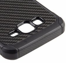 Samsung Galaxy On5 G550 - HARD & SOFT HYBRID ARMOR COVER CASE BLACK CARBON FIBER