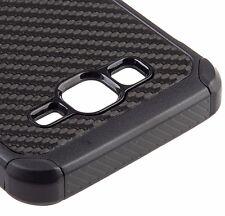 Samsung Galaxy On5 G550 - HARD & SOFT HYBRID ARMOR COVER CASE BLACK CARBON FIBER