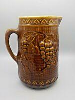 Antique North Star Stoneware Crock Pottery Pitcher Brown Glaze Raised Grape Vine