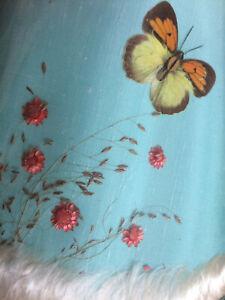 """Vintage Mid Century Van Briggle Lamp Shade Butterflies Red Flowers 7"""" Tall"""