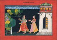 Krishna Radha Painting Hindu Religion Miniature Art Kangra Painting On Paper