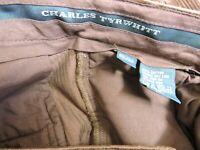 Charles Tyrwhitt Mens Classic Burgundy Cords Corduroy Casual Trousers W32/L32
