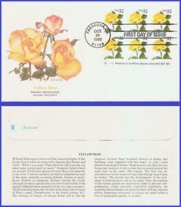 USA5 #3049 U/A FLEETWOOD FDC BL6  Yellow Rose s/a