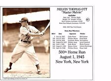 Mel Ott - New York Giants - 500th Home Run - photo 8 x 10 picture #1