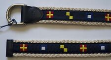 NEW POLO RALPH LAUREN PONY CHAT NAVY COTTON LEATHER D RING BELT M
