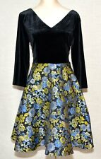ModCloth Cordially Delighted Dress NWT Black Velvet Top Floral Skirt NTW Sz S