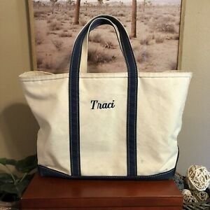 L.L. Bean Boat And Tote Bag XL Extra Large Beige Navy Blue Embroidered Travel