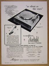 1956 Metzner STARLIGHT Model 671 Turntable vintage print Ad