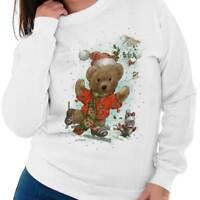 Santa Claus Teddy Bear Ice Skating Christmas Womens Long Sleeve Crew Sweatshirt