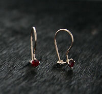 585 Russian Rose Gold 14ct Delicate 3mm Red Fianit Hook Earrings