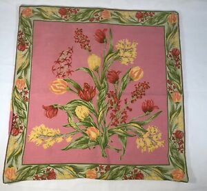 """April Cornell Pink Floral Square Pillow Cover Cushion 15"""" X 15"""""""