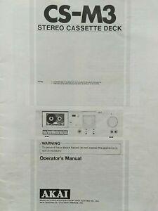 Akai CS-M3 Stereo Cassette Tape Deck Player Operating Instruction USER MANUAL