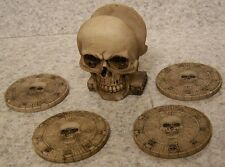 Drink Coaster Set of 4 Spooky Human Skull Holder NIB
