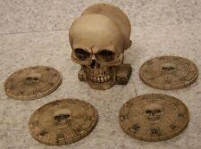 Drink Coaster Set of 4 Spooky Human Skull Holder NIB