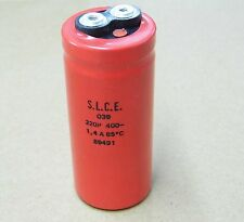 capacitor condensateur condo 220µF 220uF 220MF 400v 1.4A 85°c O39 S.L.C.E.