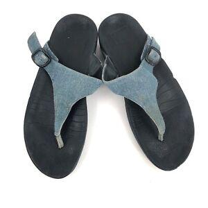 Fitflop the Skinny denim flip flop sandal orthopedic retro fitness shoes 8 women