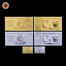 WR 2X Zimbabwe 100 Trillion Dollars Bundle 999 24K GOLD SILVER Banknote Set +COA