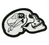 Naked Woman In Skull Iron-On Patch : Nude Lady Girl Inside Skeleton Skater Punk