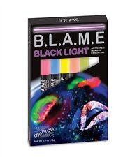 Mehron Blame Black Light Activated Cream Makeup Neon Face Paint 6 Color Pen Set!