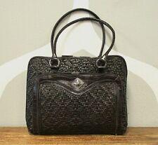 COLDWATER CREEK Brown Woven Faux Leather Briefcase Laptop Shoulder Bag