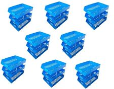 24 Blue A4 Letter Filing In Out Desk Trays + 16 Risers Stacking Paper Office