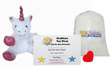 "DIY Stuffed Animal Kit 8"" White Unicorn Teddy Bear, No Sew Compatible w Webkinz"