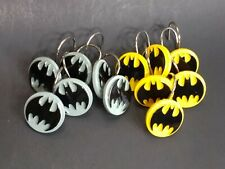 Dc Comics Batman Shower Curtain Hooks Rings Set of 12 Yellow Black Gray
