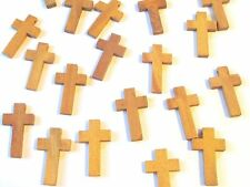 Wholesale Lot of 500 Small, Plain, Wood Crosses, Medium Brown