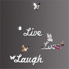 LIVE LAUGH LOVE Vinyl 3D Mirror Wall Stickers Butterflies Mural Decal Wall