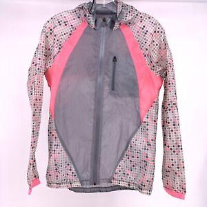 Under Armour Run Womens XS Wind Breaker Lightweight Vented Pink Gray Polka Dot