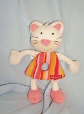 Doudou Hochet  Eponge+Tissu Chat Rose & Blanc Babysun (20cm)
